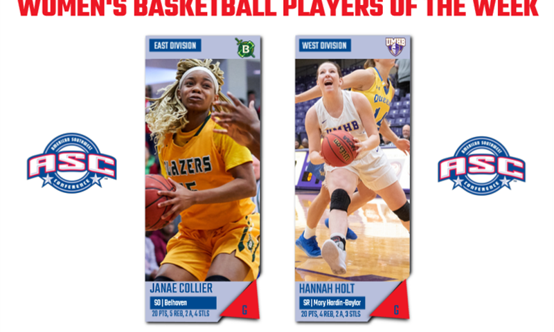 Collier, Holt Earn Women's Basketball Players of the Week
